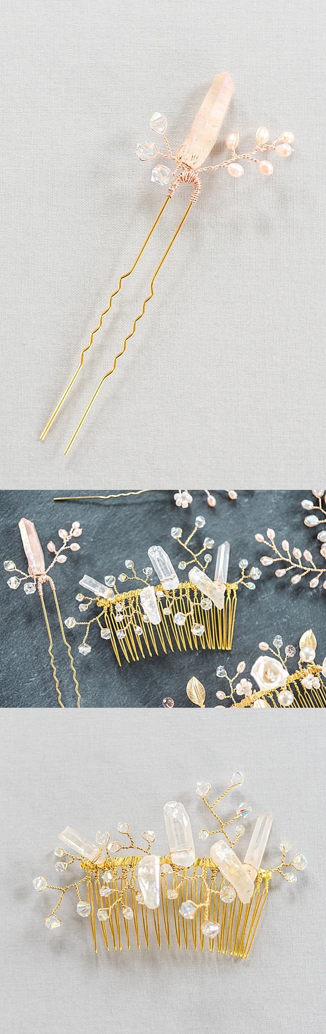 Raw crystal spike gold bridal hair accessories, heirloom quality wedding hairpieces handmade in Baltimore by J'Adorn Designs jewelry artisan Alison Jefferies