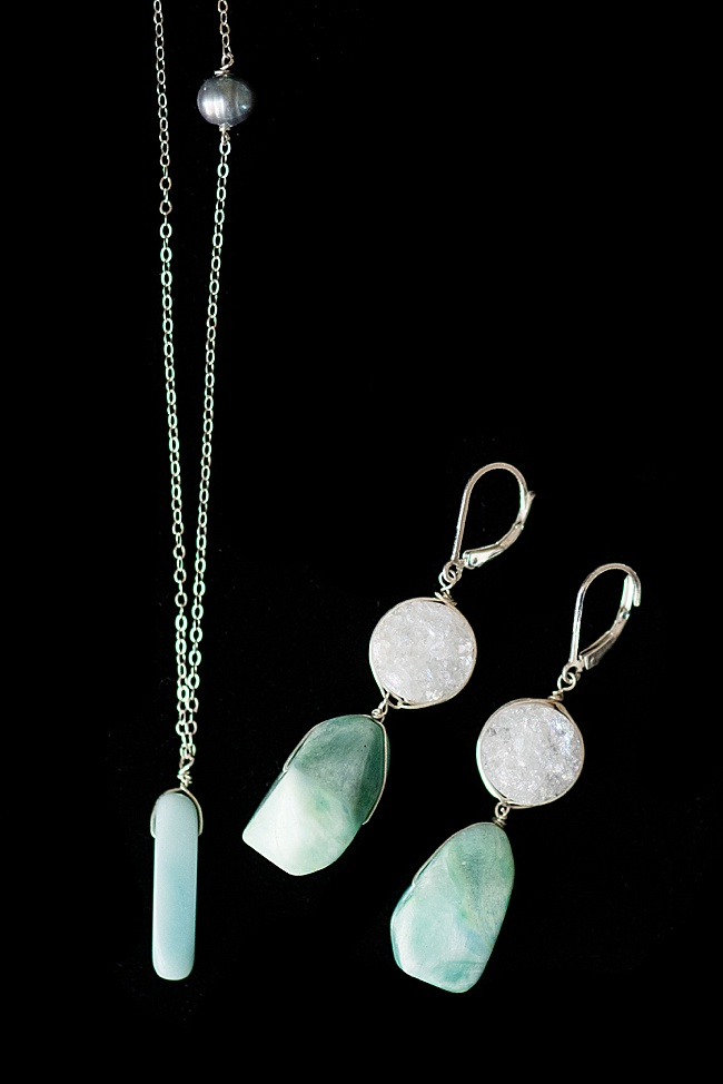 2020 jewelry trends forecast: sterling silver will make a comeback as a popular jewelry metal color, as pictured in this set of druzy & amazonite gemstone jewelry by J'Adorn Designs, available at the Baltimore Museum of Art