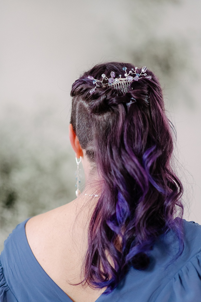 Amethyst and silver hair comb styled with a half up half down hairstyle for formal portraits. Handcrafted accessories by J'Adorn Designs.