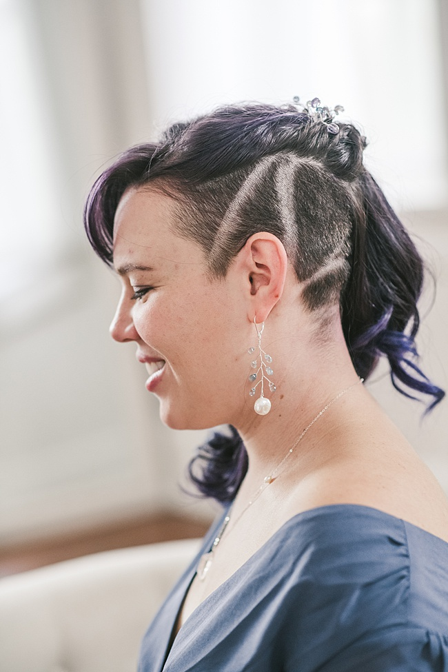 Undercut formal hairstyle with amethyst hair comb and aquamarine earrings with freshwater pearl drops. Sterling silver handmade jewelry by J'Adorn Designs.