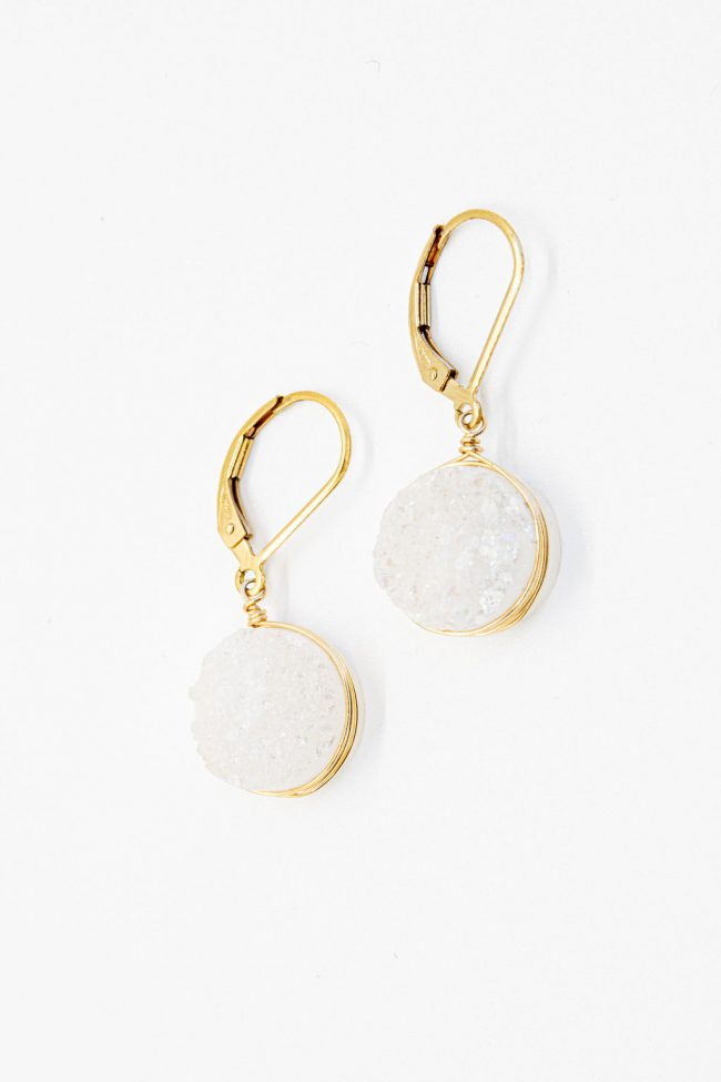 Mother's Day gifts: White druzy quartz sparkly earrings in gold, neutral everyday earrings by J'Adorn Designs