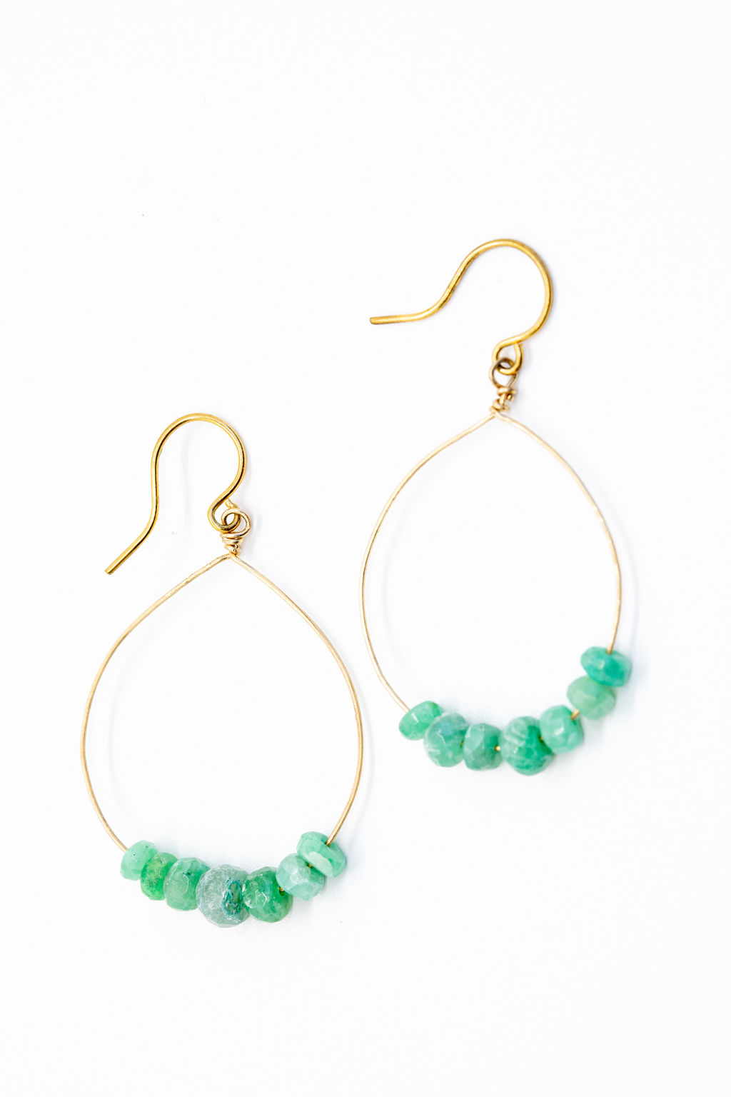 gold hoop earrings with emerald beads jadorn designs custom jewelry