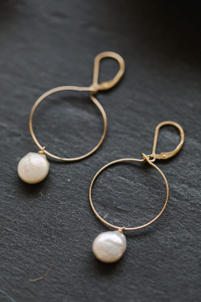 Mother's Day gifts: Gold hoop earrings with freshwater coin pearl drops. from Betsy's Mothers Day wishlist by J'Adorn Designs handcrafted jewelry