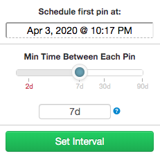 Tailwind's interval tool for scheduling minimum time between pins on Pinterest for optimal pinning schedule
