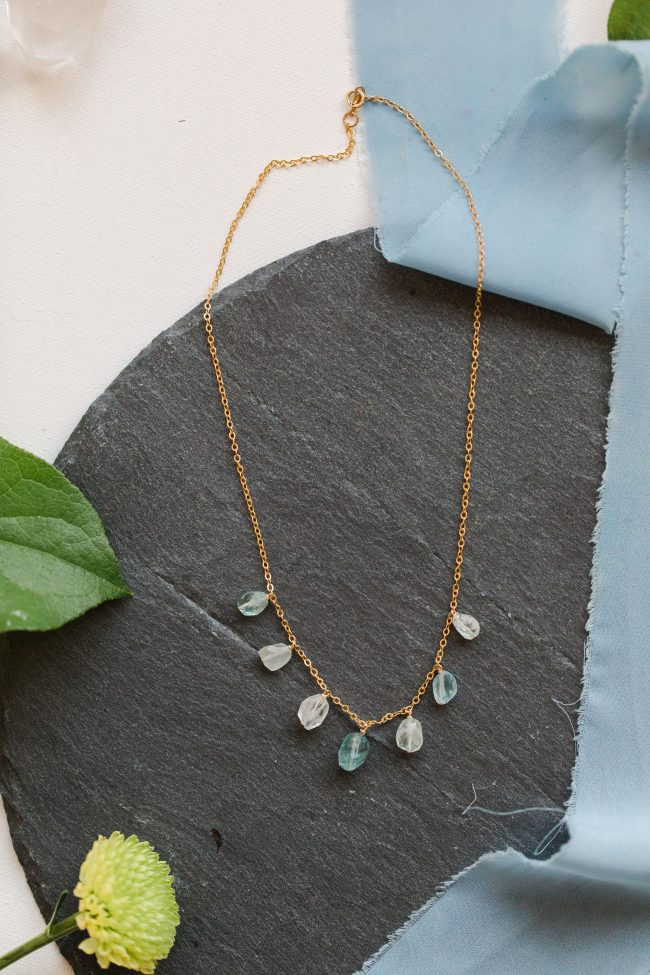 Blue tourmaline gemstones and gold necklace, spring jewelry and unique graduation gifts by j'adorn designs artisan jewelry