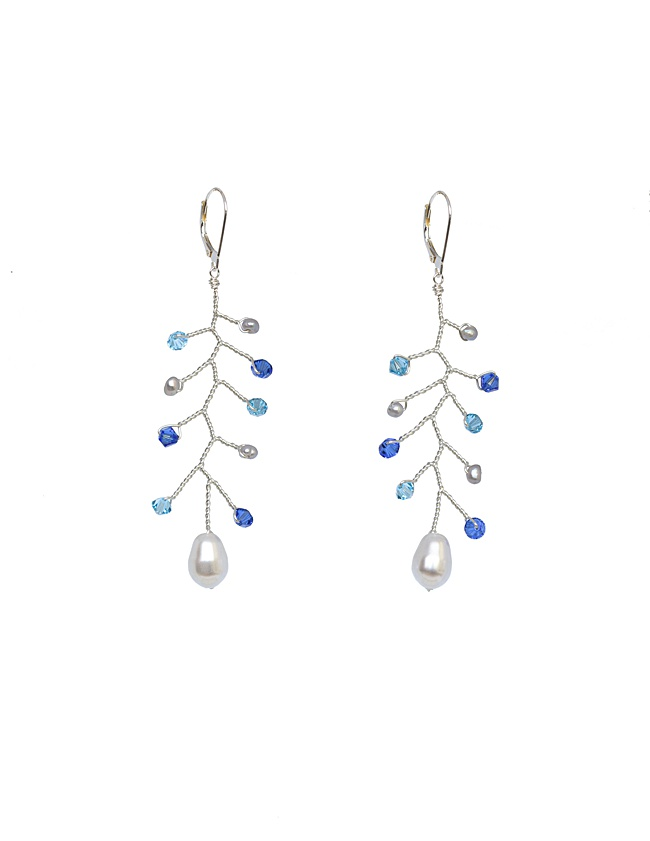 delicate bridal vine earrings in silver and blue flat lay jadorn designs custom jewelry