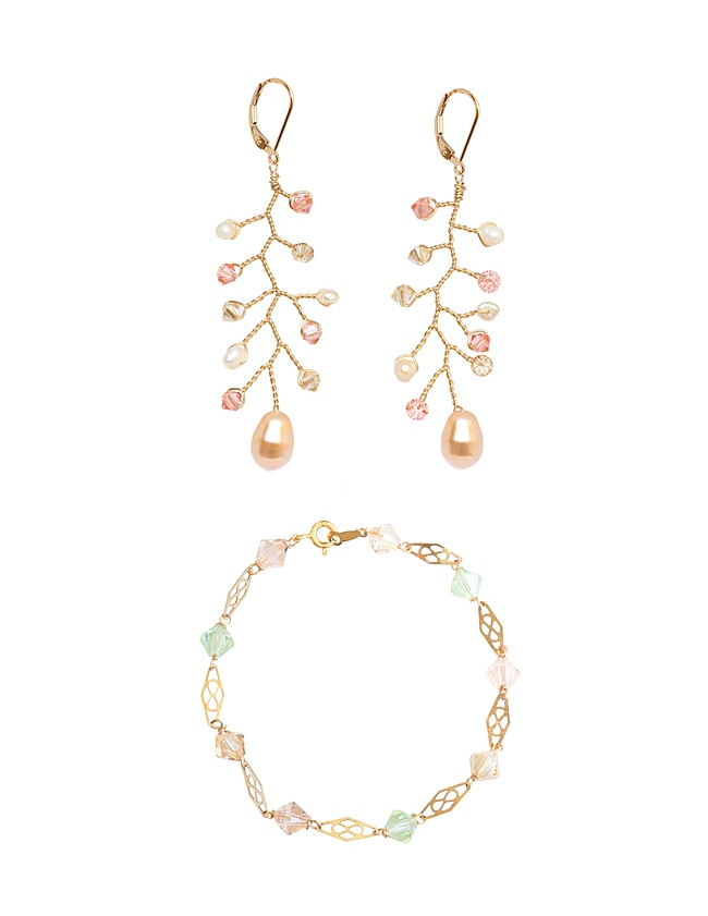 Gold, blush, and ivory bridal jewelry set of gold vine earrings and pastel gold colored bracelet, handcrafted jewelry and wedding party gifts by J'Adorn Designs