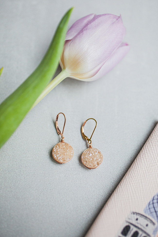 Champagne gold druzy earrings in rose gold, spring jewelry and unique graduation gifts for high school seniors by j'adorn designs artisan jewelry