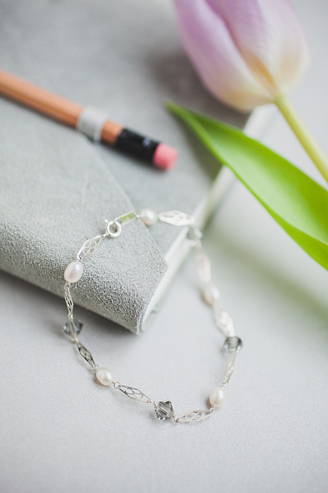 Delicate silver and pearl link bracelet, spring jewelry and unique graduation gifts by j'adorn designs artisan jewelry