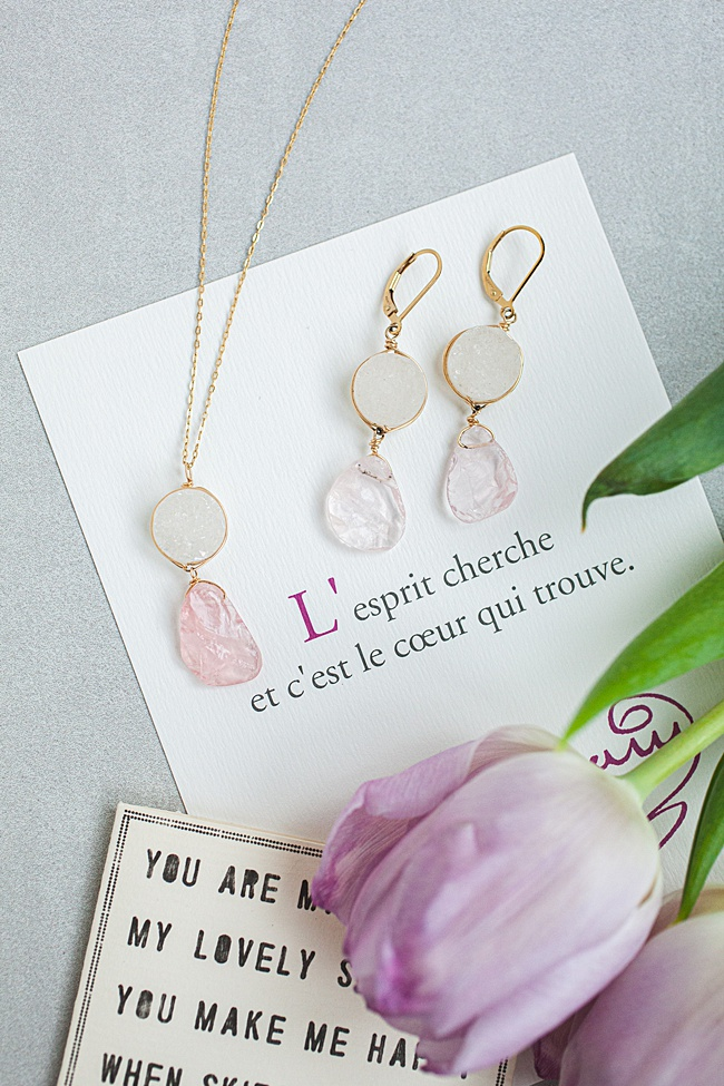 Rose quartz and white druzy jewelry set, spring jewelry and unique graduation gifts for high school seniors by j'adorn designs artisan jewelry