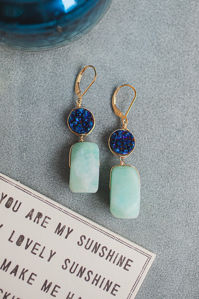 Blue druzy and turquoise amazonite teardrop earrings in gold, spring jewelry and unique graduation gifts for high school seniors by j'adorn designs artisan jewelry